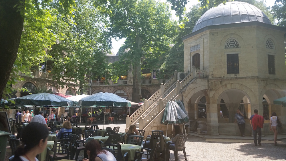 Koza Han-courtyard-cafes-small mosque-fountain