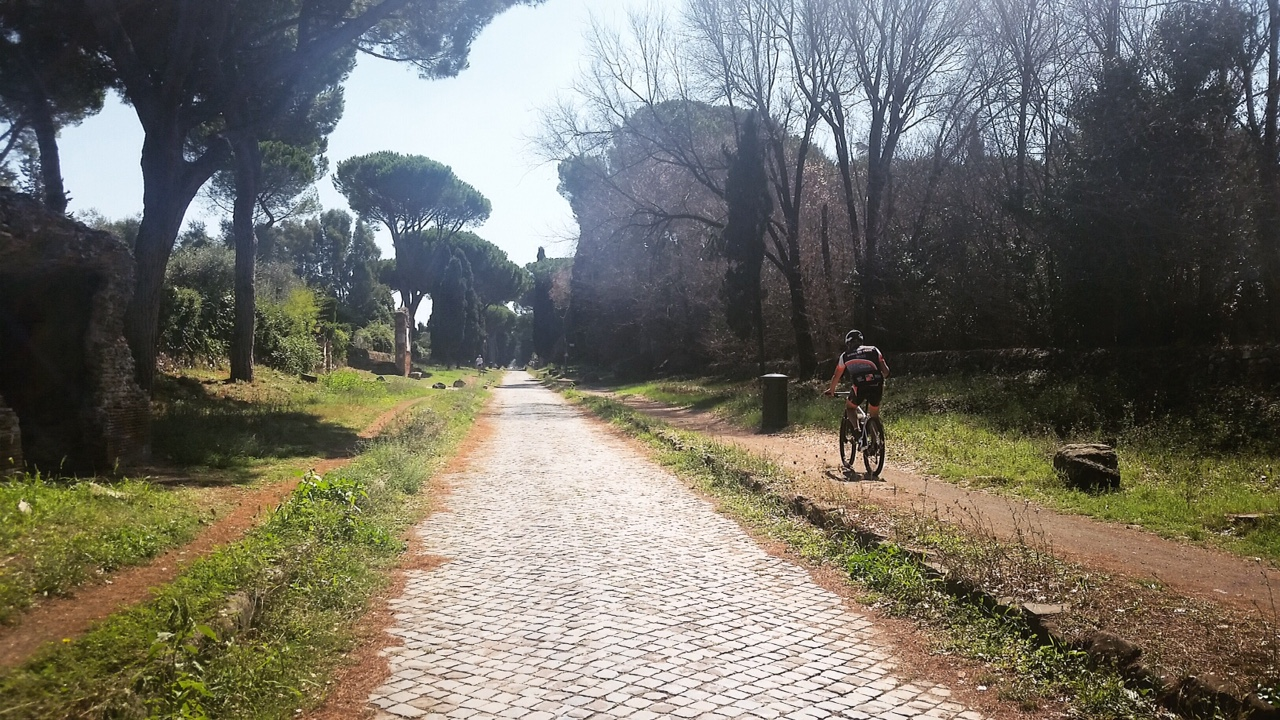 mountain bike rider-biking-Via Appia-Appian Way-Rome