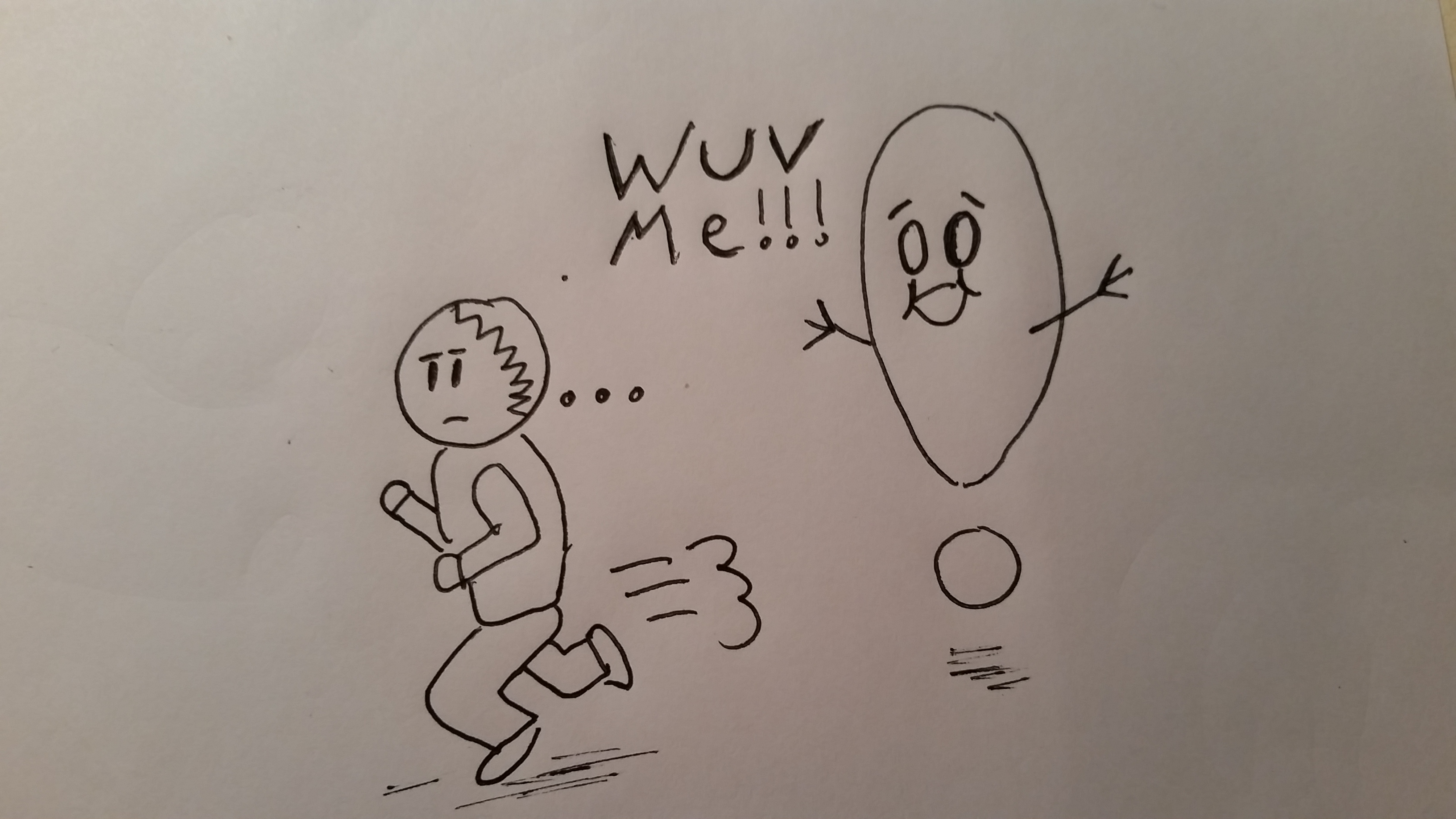Cartoon-Man-Running-from Exclamation Point. Embrace-the-Exclamation Point