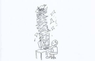 Cartoon-man-computer-papers-bird coming out