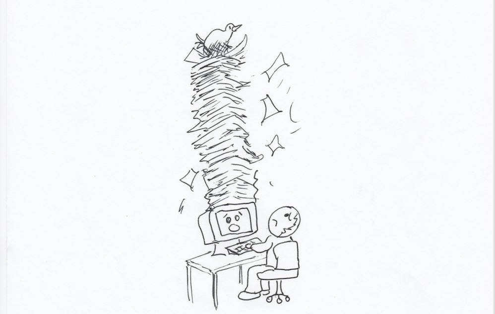 Cartoon-Bird on Papers-coming out of computer. Don't cram too much info into one email.