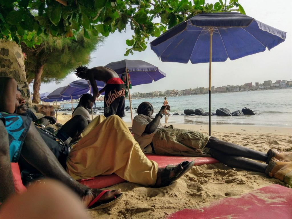 Relax-friends-Island-Beach Umbrellas-Dakar-Senegal.
