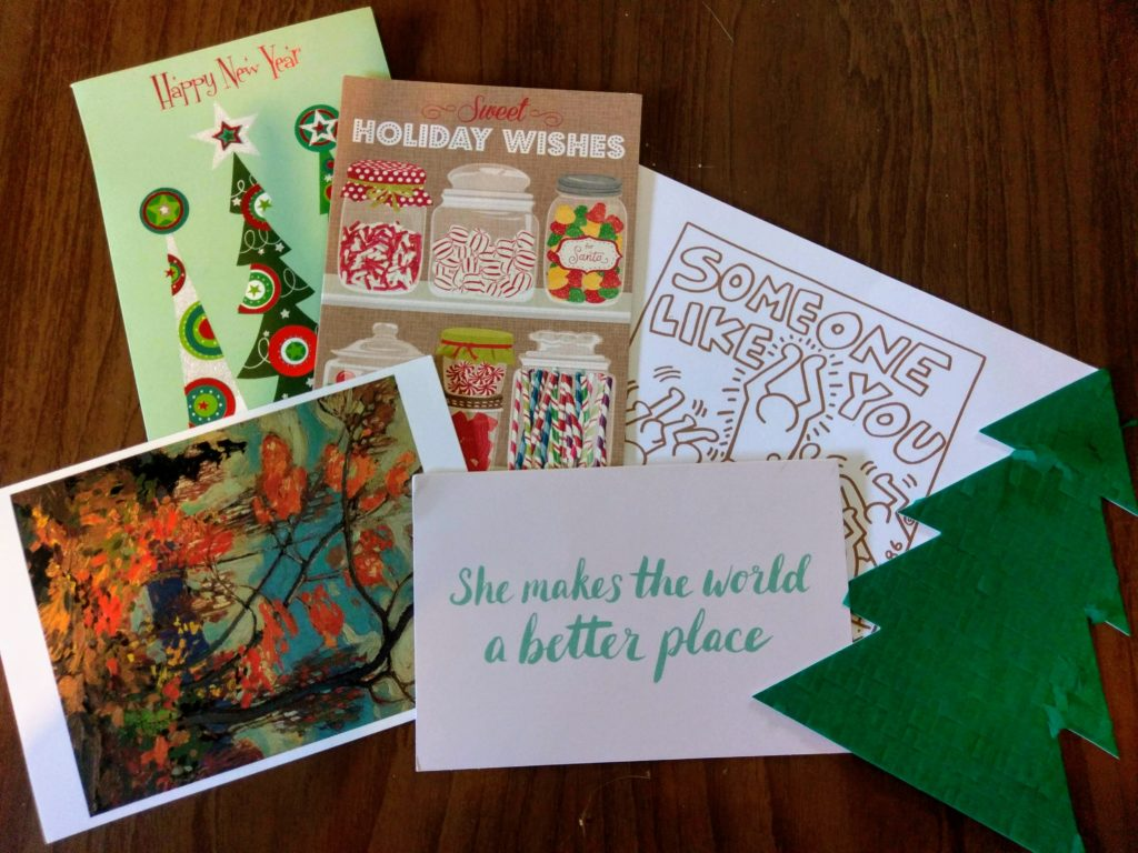 showing the holiday cards I received in late January